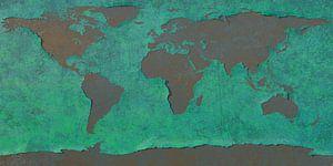 Afbladderende wereldkaart, blauw van