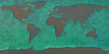 Afbladderende wereldkaart, blauw van Frans Blok