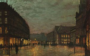 Boar Lane in Leeds, mit Straßenlaternen, John Atkinson Grimshaw