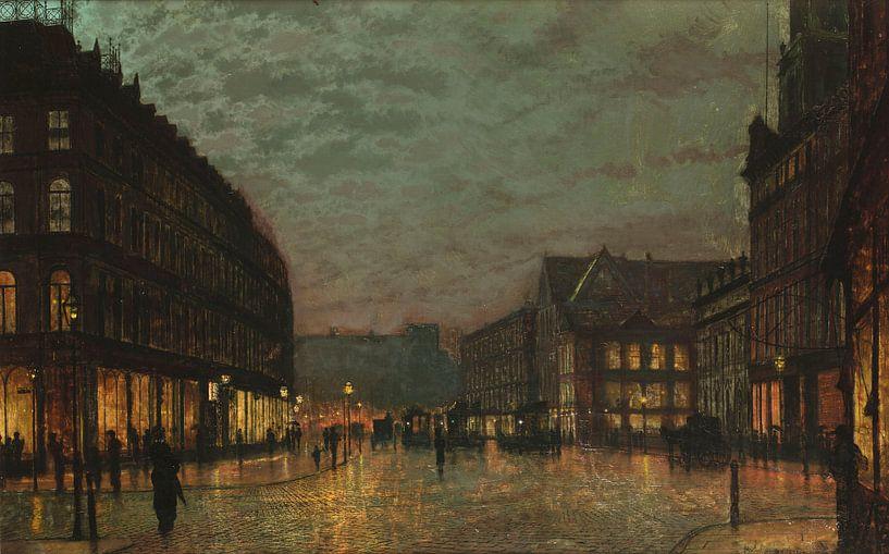 Boar Lane in Leeds, mit Straßenlaternen, John Atkinson Grimshaw von Meesterlijcke Meesters