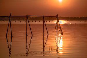 Oranje zonsondergang over de Ionische Zee