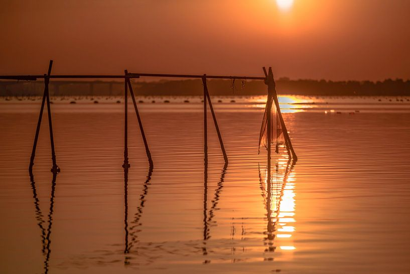 Oranje zonsondergang over de Ionische Zee van Gea Gaetani d'Aragona