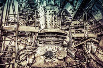 Machinerie van een hoogoven in retrolook van