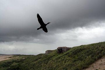 Zwarte vogel in zwarte lucht van Liane Dhyana Pagie