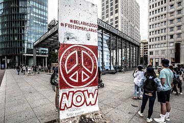 free belarus now beeld op het postdamer platz in berlijn van Eric van Nieuwland