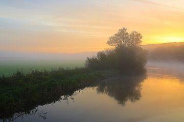 Kleurrijke zonsopgang met mist