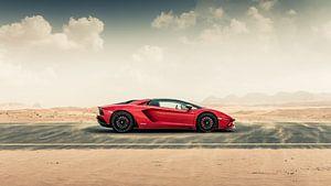 Lamborghini Aventador S Roadster vs. desert roads II van