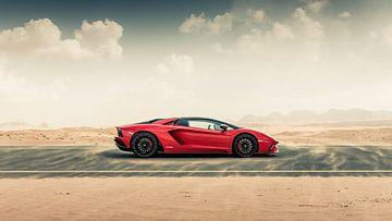 Lamborghini Aventador S Roadster vs. desert roads II van Dennis Wierenga
