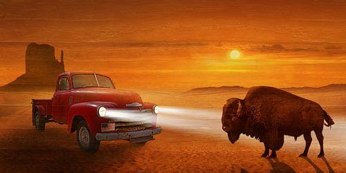 Treffen im Sonnenuntergang auf der Route 66 von