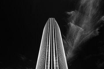 Zwart-wit foto van Beursgebouw Rotterdam (Beurs World Trade Center) sur Martijn Smeets