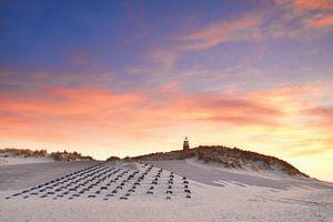Vuurtoren Texel bij zonsondergang van