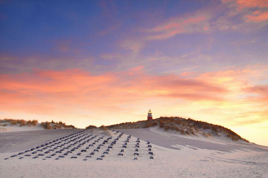 Vuurtoren Texel bij zonsondergang