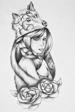 Tekening Wolfgirl van Cynthia Jansen
