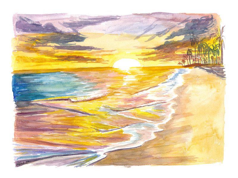 Romantische Insel Sonnenuntergang mit Wellen Palmen Strand von Markus Bleichner
