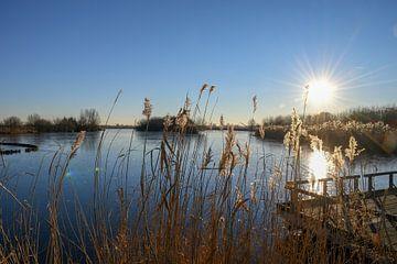 gefrorener See an einem sonnigen Tag von Merijn Loch