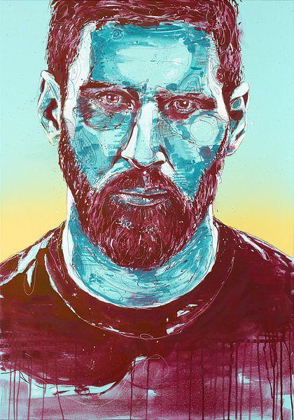 Lionel Messi, (FC Barcalona) schilderij van Jos Hoppenbrouwers