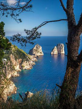 Uitzicht op de Faraglione kliffen op Capri van Christian Müringer