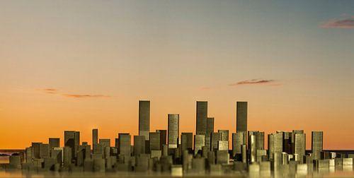 Skyline, abstract, gemaakt van nietjes