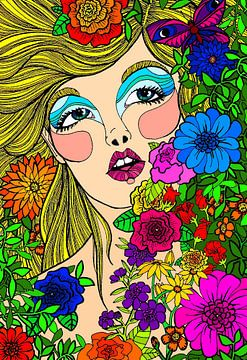 Bloemenmeisje met vlinder von Jessica Coppoolse