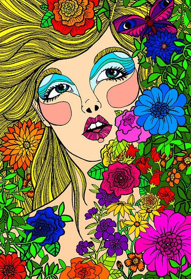 Bloemenmeisje met vlinder van Jessica Coppoolse