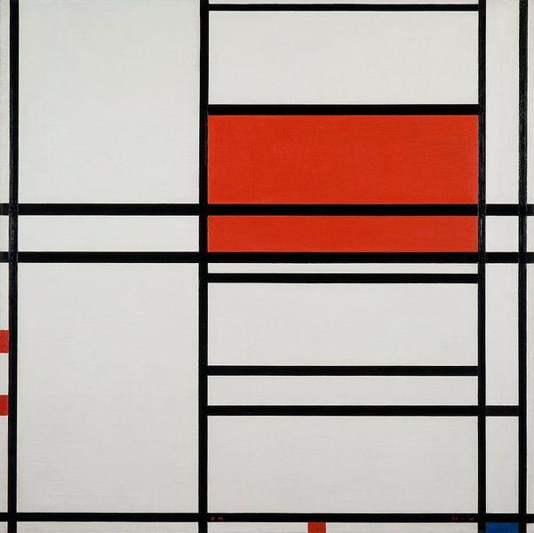Komposition von Rot und Weiß; Nom 1,Komposition Nr. 4 mit Rot und Blau, Piet Mondrian von Meesterlijcke Meesters