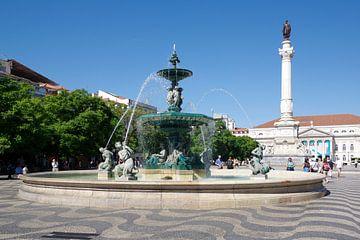 Het Praça de D. Pedro IV in Lissabon van Berthold Werner