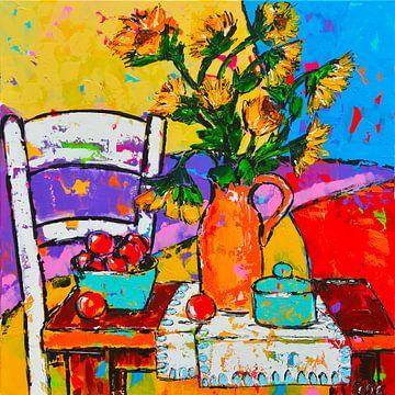 Fröhlicher Tisch mit Sonnenblumen von Vrolijk Schilderij