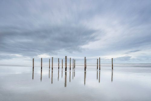 Poles at the beach of Schiermonnikoog