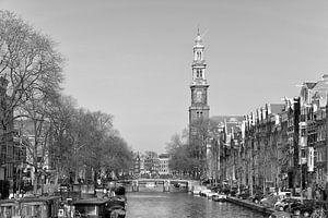 Prinsengracht en de Westerkerk in Amsterdam van