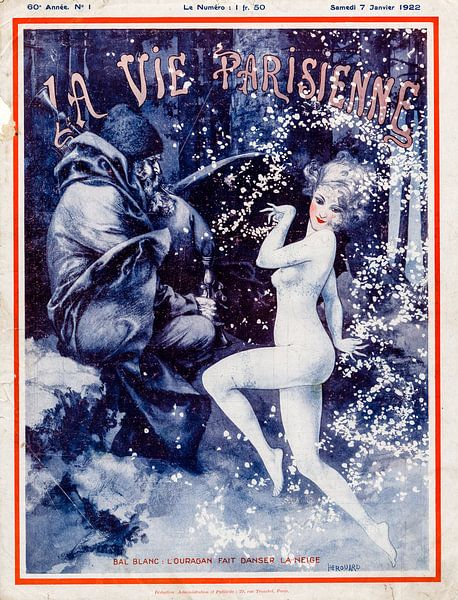 Art Deco tijdschrift omslag La Vie Parisienne, 7 Januari 1922 van Martin Stevens