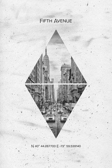 Coördinaten NEW YORK CITY Fifth Avenue van Melanie Viola