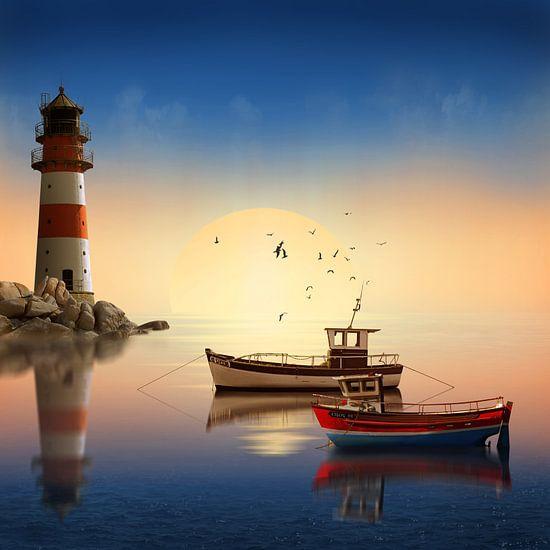 Kleiner Hafen mit Leuchtturm von Monika Jüngling
