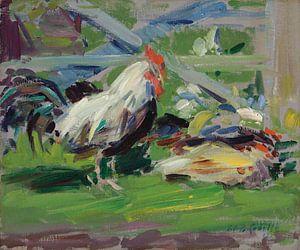 Cockerel in a Farmyard van David Potter