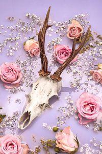 Rozen herten gewei - Pastel tinten. van Nikki Segers