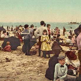 Op het strand bij Coney Island (kleur) van Vintage Afbeeldingen