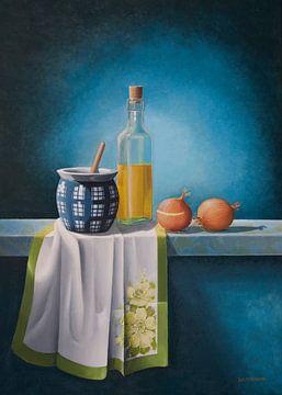 Stilleben, Olivenöl und Zwiebeln von David Soekana