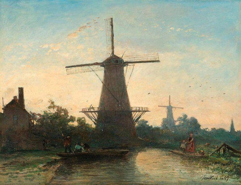 Windmühlen bei Rotterdam, Johan Barthold Jongkind von Meesterlijcke Meesters