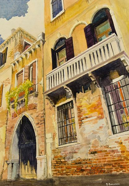 Balkon in Venetië | Schilderij van WatercolorWall