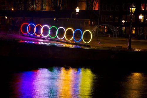 Amsterdam Light Festival gekleurde ringen