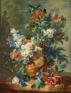Stilleven met bloemen in gouden vaas, Jan van Huysem, 1723