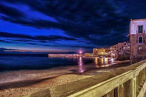 Cefalu, Sicilie Blauwe uur