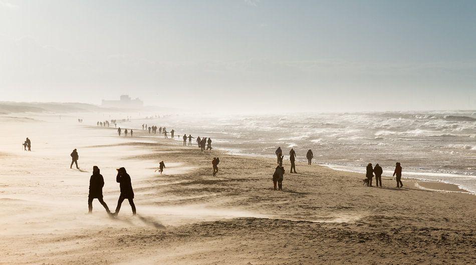 Winderig dagje strand van Dennis van de Water