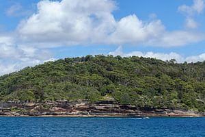 Het uitzicht van de haven van Sydney naar Fairfax. Het Noordenhoofd, North Head, Quarantine Station