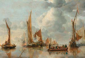 La flotte nationale saluant la péniche de l'État, Jan van de Cappelle