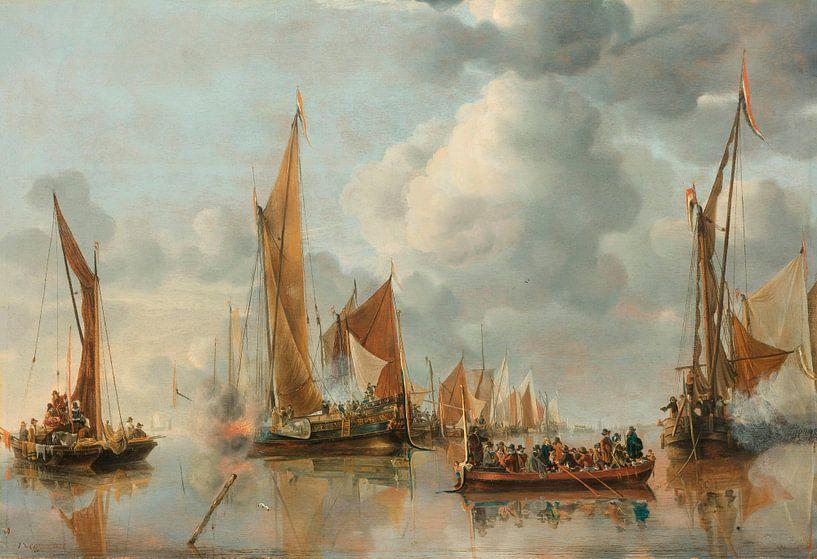 La flotte nationale saluant la péniche de l'État, Jan van de Cappelle sur Meesterlijcke Meesters