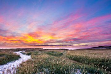 Zonsondergang  Texel in Nederland van