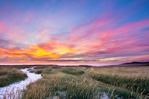 Zonsondergang  Texel in Nederland