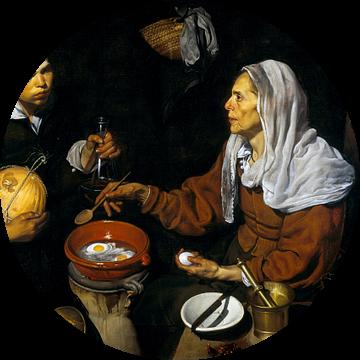 Een oude vrouw bakt eieren, Diego Velázquez - 1618