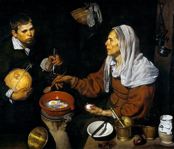 Een oude vrouw bakt eieren, Diego Velázquez - 1618 van Het Archief