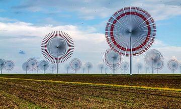 Parc éolien dans le nord de l'Allemagne (mer du Nord) avec des éoliennes à rotation très rapide